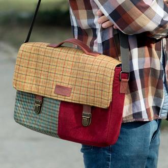 Портфель для ноутбука  15'' из твида Red в клетку.  Сумка-портфель для компьютера.