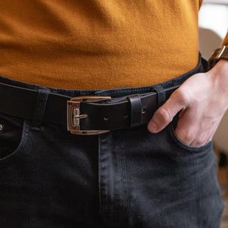 Стильный мужской черный кожаный ремень под джинсы_подарок мужу
