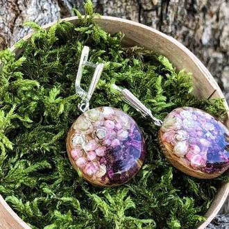 Серьги из дерева и эпоксидной смолы, сережки с живыми цветами, эко подарок для женщин