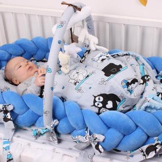 Кокон-трансформер для новорожденного со съемной косичкой