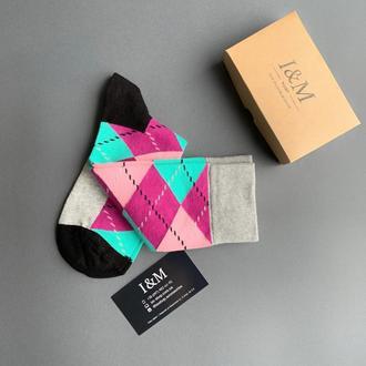 Носки I&M Craft в цветные ромбы (070273)