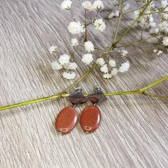 Серьги «Геометрия» авантюрин коричневый