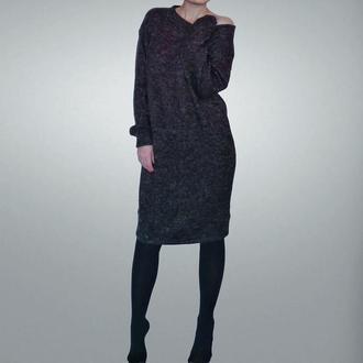 Теплое платье- свитшот из ангоры цвета графит