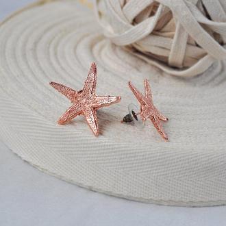 Серьги-гвоздики с омедненными морскими звездами