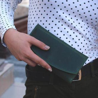 Женский зеленый кошелек клатч из натуральной кожи