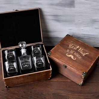 Стеклянный набор графин и стаканы для виски с лазерной гравировкой в подарок для папы