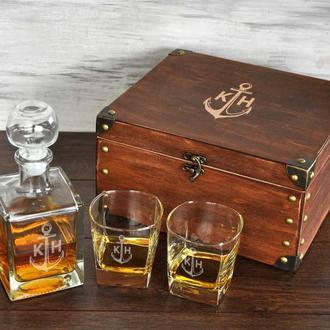 Стеклянный набор для виски с лазерной гравировкой в подарок