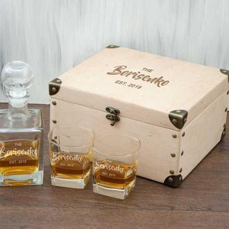 Стеклянный набор графин и стаканы для виски с лазерной гравировкой в подарок мужчинам