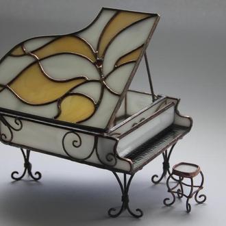 Шкатулка - Рояль (витражное стекло)