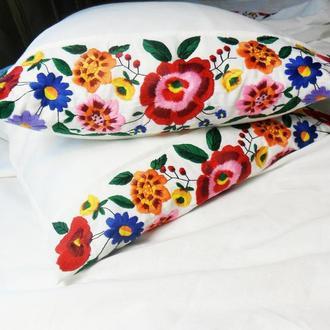 Вышитая наволочка на подушку Льняная наволочка Рустик стиль