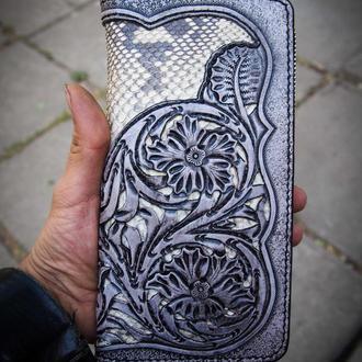Женский кошелек из кожи змеи, экзотическая кожа, кошелек на молнии