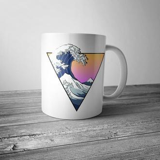 """Чашка с принтом """"Волна"""""""