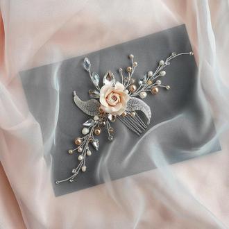 Свадебное украшение для волос, заколка в прическу, украшение в прическу на выпускной, гребень