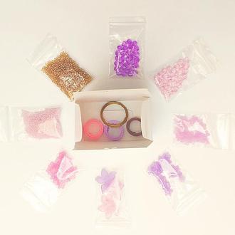 Бусины фиолетовые в наборе Набор бусин Бусины акриловые