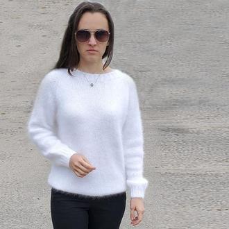 Женский белый свитер пушистый джемпер свитер из ангоры кролик