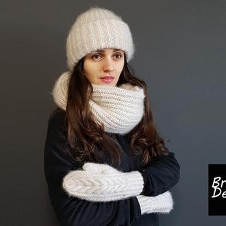 Вязаная шапка такори мохер зимняя теплая шапка
