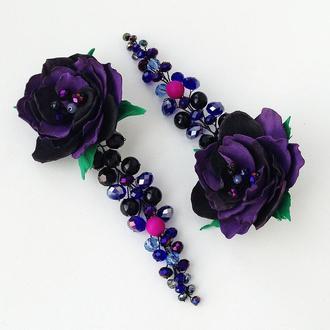 Вечерние длинные серьги «Violet magic»