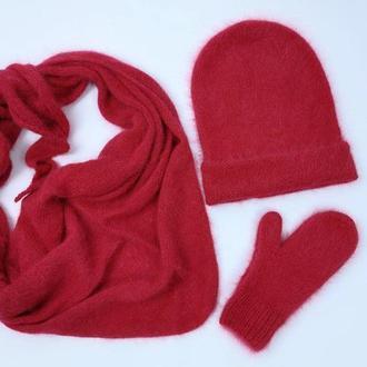 Вязаный набор шапка бини варежки бактус шарф пушистый ангора пух кролика