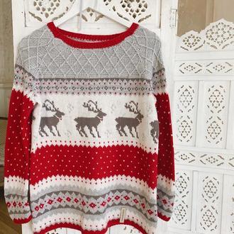 Вязаный свитер с оленями «Олаф»
