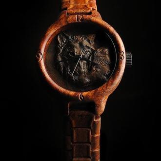 Женская модель WOLFS!!! Наручний дерев'яний годинник. Дерев'яний браслет. Подарок для нее