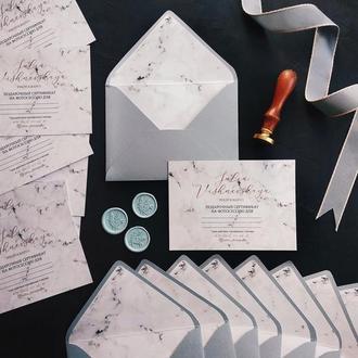 """""""Мрамор"""" Свадебные приглашения/подарочные сертификаты ручной работы формата А6 комплект"""