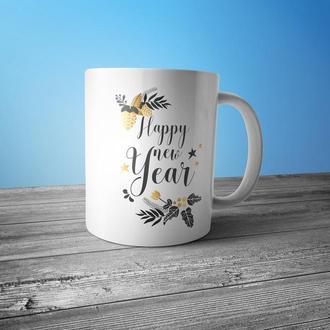"""Новогодняя чашка с принтом """"Happy New Year"""""""