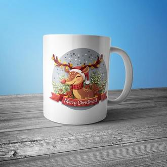 """Новогодняя чашка с принтом """"Олень Рудольф"""""""