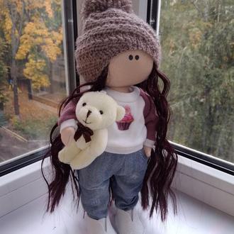 """Текстильна лялька """"Дівчинка з ведмедиком"""""""