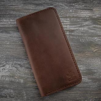 Мужское кожаное коричневое портмоне кошелек