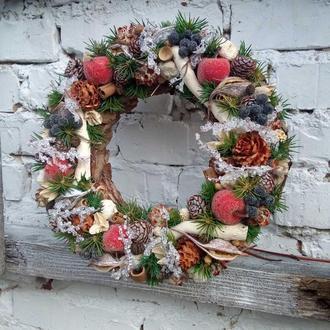Рождественский венок на входную дверь, новогодний венок