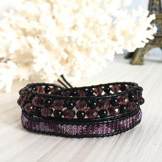 Черный кожаный браслет в стиле Chan Luu с бусинами и чешским бисером