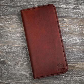 Кожаный мужской коричневый кошелек портмоне