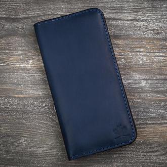 Синий мужской кожаный кошелек портмоне