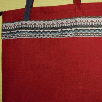 Сумка текстильная красно-синяя