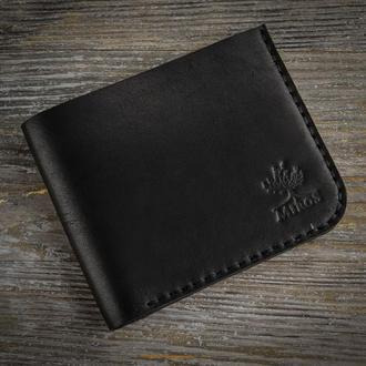 Черный кожаный мужской кошелек