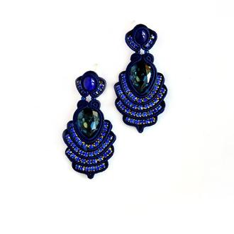 Серьги темно-синие с камнями Swarovski