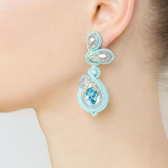 Серьги серо-голубые с кристаллами Swarovski