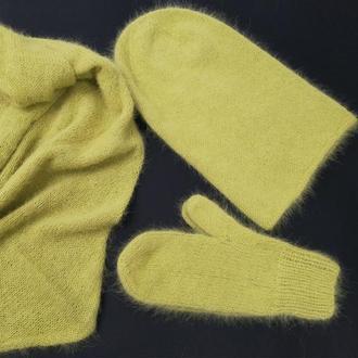 Набор комплект шапка бини вязаная ангора варежки бактус шарф пушистый ангора пух кролика