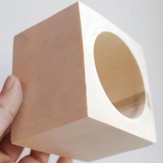 Браслет деревянный 70 мм (7 см) - квадратный - липа
