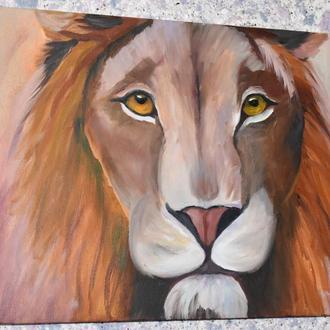 Лев, картина размер 35х45см