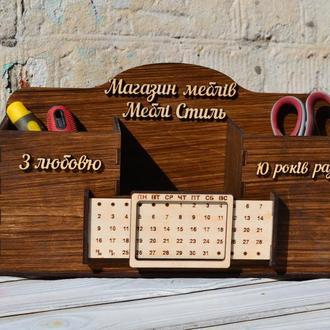 Деревянный органайзер с вечным календарем,настольный органайзер,подставка для канцелярии