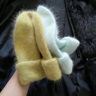 пушистая  теплая шапка бини ангора 80 шапка из кролика