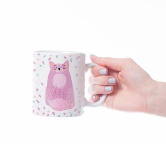 """Чашка с принтом """"Розовый котик"""""""