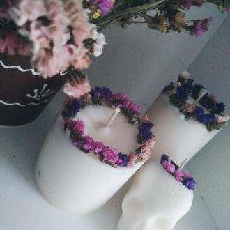 Подарунковий комплект, натуральні свічки з квітами