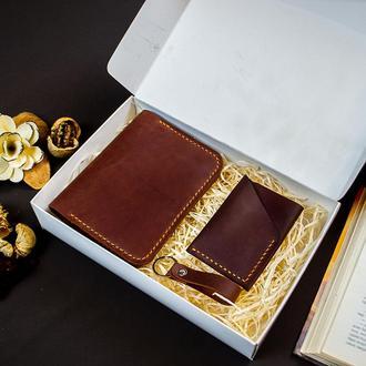 Кошелек для документов .Визитница .Брелок Подарочный Набор из Натуральной кожи