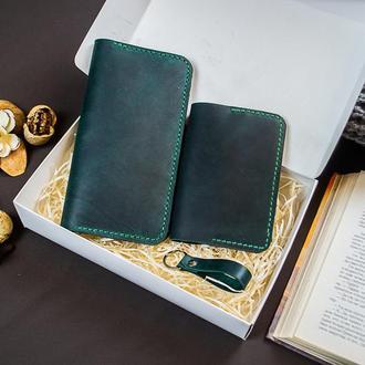 Кошелек Обложка на паспорт  Брелок Подарочный Набор из Натуральной кожи  с именной гравировкой
