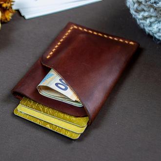 Картхолдер визитница для карт с натуральной кожи с Гравировкой