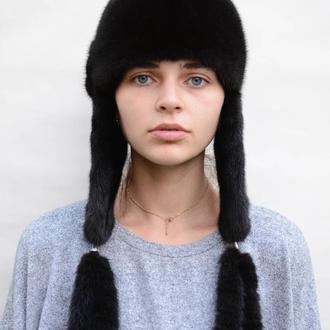 Женская зимняя норковая шапка Ушанка
