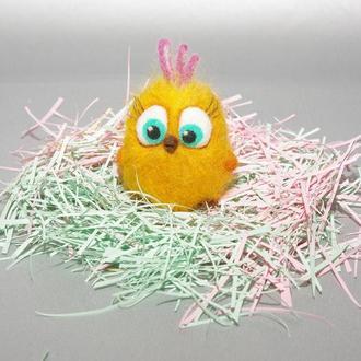 Игрушки валяные из шерсти. Angry Birds желтый птенец