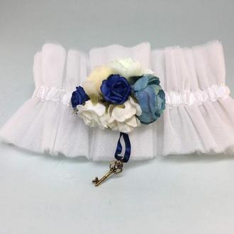 Подвязка невесты Brilliant set синий